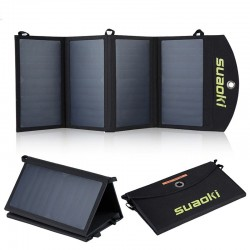 Solar panel - battery charger - foldable - waterproof - dual 5V/2.1A USB - 25W