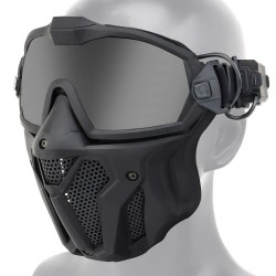 Tactical full face mask - with lenses / anti-fog fan - adjustable strap - airsoft - motocross / paintball