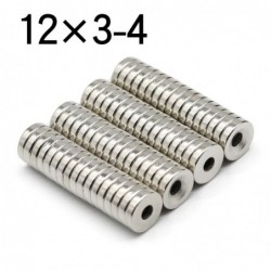 N35 - neodymium magnet - round disc - 12 * 3mm - with 4mm hole - 10 - 50 pieces