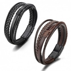 Trendy leather bracelet - multilayer braided rope - metal clasp - unisex