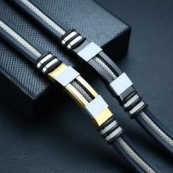 Stylish men's bracelet - stainless steel / mesh / silicone