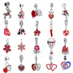 Red charms / pendants - for necklaces / bracelets - 2 pieces