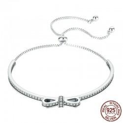 Elegant crystal bracelet with bowknot - adjustable - 925 sterling silver