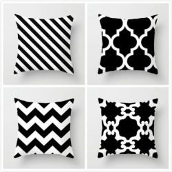 Cushion cover - black / white geometric style - 45 * 45cm