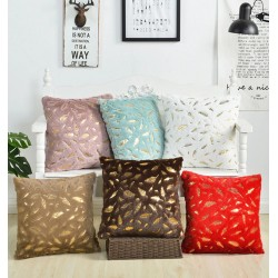 Plush pillowcase cover - with golden leaves - 45 * 45cm