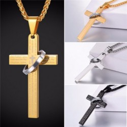 Holy cross with biblical prayer - necklace - with a decorative ring - stainless steel