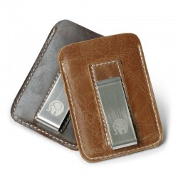 Genuine leather money Clip - metal - slim fit to carry