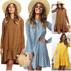 Autumn polka dot dress - with long sleeves