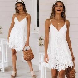 Sexy white mini dress - lace - sleeveless / long sleeve