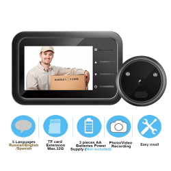 Video doorbell camera - with peephole - auto record - electronic ring - night view - digital