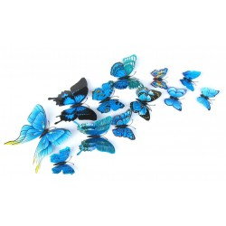 Multicolored double layer 3D butterflies - magnetic wall sticker - 12 pieces