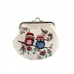 Retro small coin purse - with owls / floral print