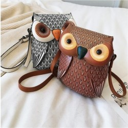 Owl shaped small leather bag - crossbody / shoulder