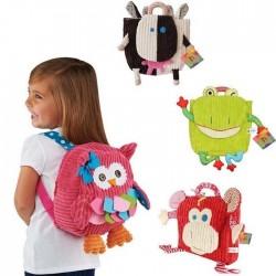 Plush school backpack - pink owl
