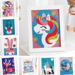 Diamond painting by numbers - deer / unicorn / owl - kids arts craft
