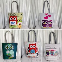 Classic handbag with zipper - single shoulder strap - print with flowers / owls