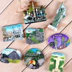 Tourist resin fridge magnets - USA / Brazil / Canada / Peru / Mexico