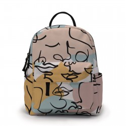 Trendy mini backpack - abstract line face printed