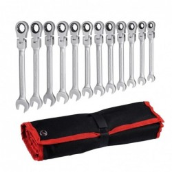 Car wrench set - adjustable gear nut - flexible head - with bag - 12 pieces