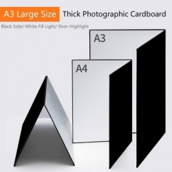 Thick photographic cardboard - collapsible - white / black / silver reflective paper - A3 / A4