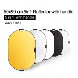 5 in 1 photography reflector - light diffuser - with handle / carrying case - 60 * 90cm