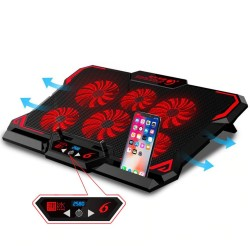 Laptop cooling pad / stand - 6 fans - LED - portable - adjustable
