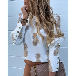 Elegant loose blouse - long sleeve shirt - with decorative buttons - pineapple print