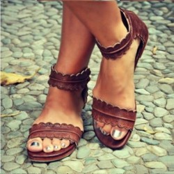 Classic summer sandals - open toes - with back zipper