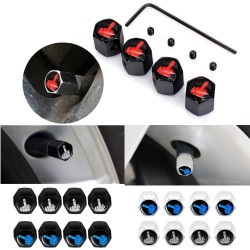 Car tire valves - anti-theft caps - with wrench - zinc alloy - middle finger style