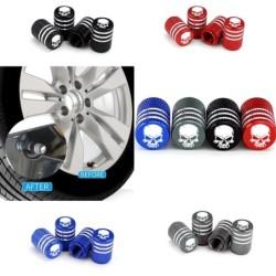 Car tire wheel valves - aluminum caps - skull design - 4 pieces