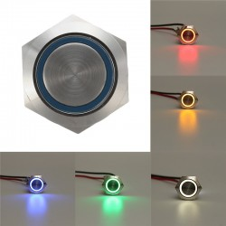 12V 5 Pin 19mm Led light - stainless steel push button - momentary switch - silver