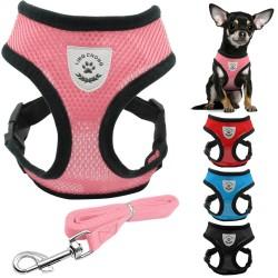Puppy & dog breathable nylon mesh harness & leash set