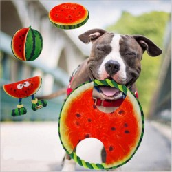 Dog frisbee - canvas rope - watermelon toy - 19 cm