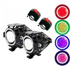 Faro LED U7 Angel Eye per moto con interruttore - fendinebbia - chip CREE 3000LM - 2 pezzi