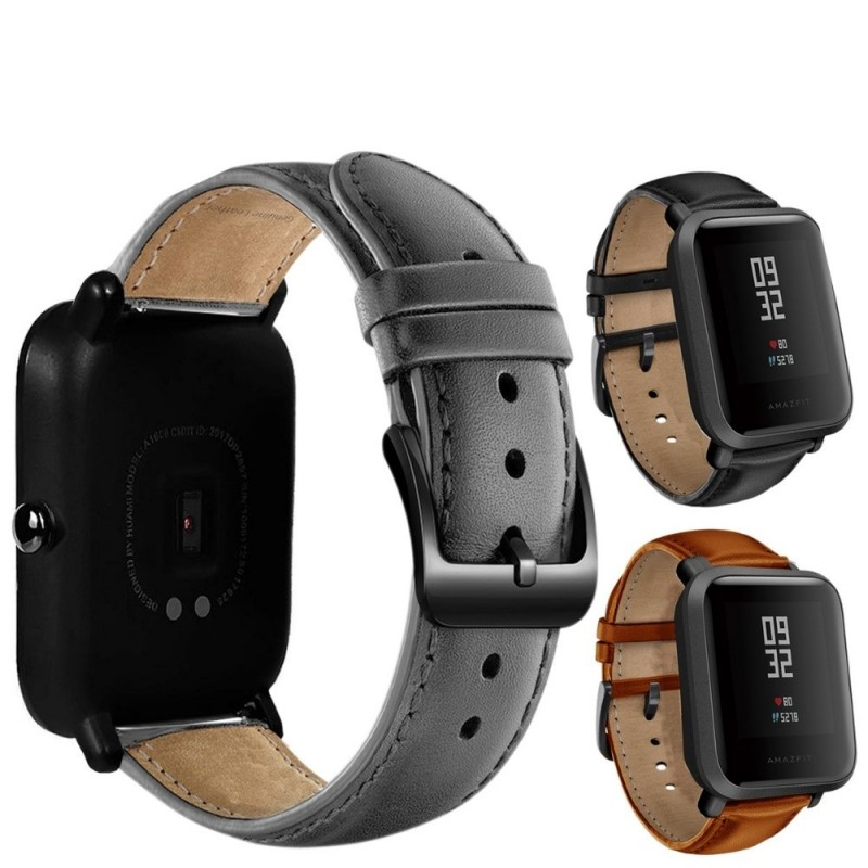 Leather watch band with black buckle for Xiaomi Huami Amazfit Bip