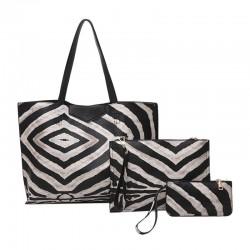 Leather bag with zebra pattern - 3 pcs set