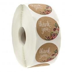 Thank you - carta kraft naturale - adesivi rotondi 500/1000 pezzi