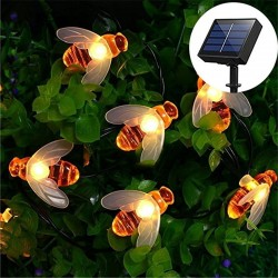 LED lights with bees - solar powered christmas lights